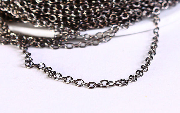 2mm x 1.5mm gunmetal cable chain - black cable chain - 10 feet (599)