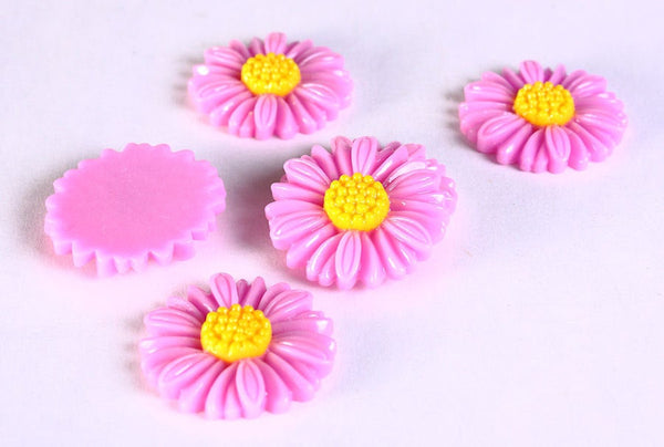 27mm Purple daisy cabochons - 27mm flower cabochon (628)