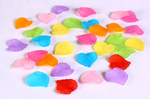 Mixed color frosted leaf beads - leaves resin beads - mixed color beads - 16mm x 15mm - 30 pieces (642)