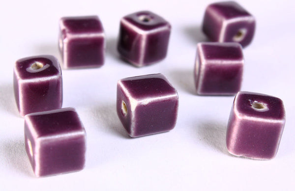 10mm Purple cube beads - 10mm violet handmade beads - 10mm bright glazed porcelain bead - 8 pieces (674)