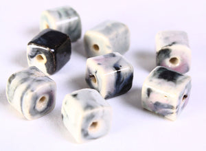 10mm Grey gray green handmade bright glazed porcelain bead - cube beads - 8 pieces (671)