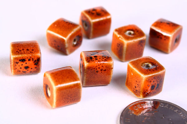 10mm Orange brown handmade bright glazed porcelain bead - cube ceramic beads - Handmade beads - 8 pieces (673)