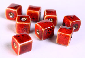 10mm Red handmade beads - Cube beads - bright glazed porcelain beads - Handmade beads - 8 pieces (675)