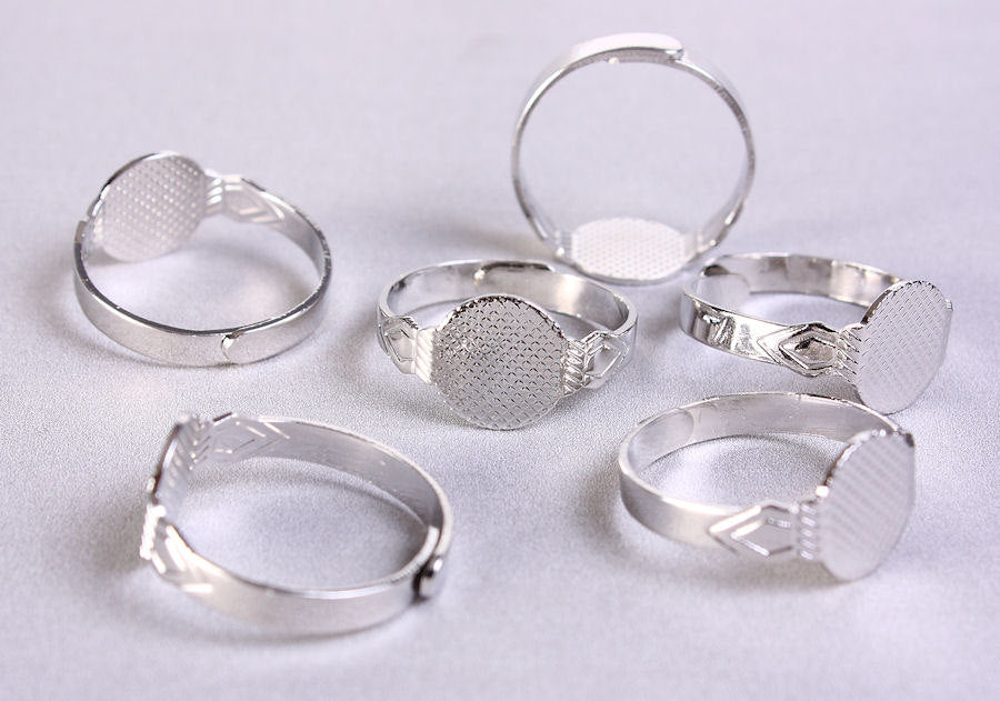 10mm pad ring silver color - blank adjustable ring - Cabochon base ring - Glue on ring - Blank ring Base - 6 pieces (683)
