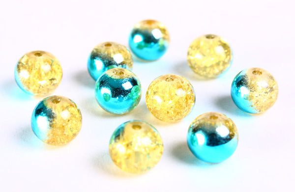 10mm Yellow and mirror turquoise crackled beads - 10mm mix color round crackle beads - glass bead - 10 pieces (682)