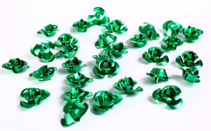 12mm green rose flower aluminum cabochon bead - 30 pieces (687)