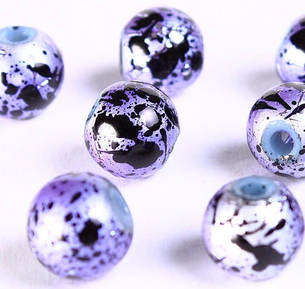 8mm Drawbench purple silver black beads - 8mm round glass bead - 8mm spray painted beads - 10 pieces (697)