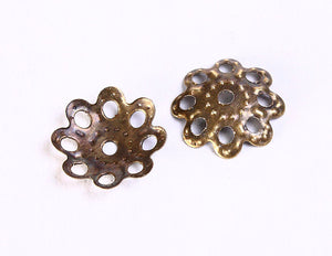 10mm antique brass filigree bead caps - 10mm flower filigree beadcaps - rustic bead spacer - nickel free - 50 pieces (700)