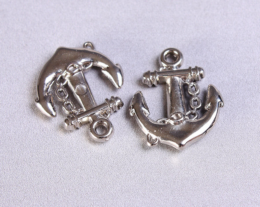 Silver anchor charm - Anchor pendant - silver color acrylic charm - 20mm x 16mm - 10 pieces (701)