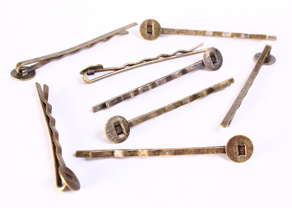 Antique brass bobby pin with glue pad 8mm - Hair Accessory Supplies - Antique brass Hair pin - Blank Hair Pins - 8 pieces (704)