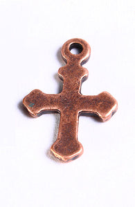 Antique copper cross charm - antique copper cross pendant - 19mm x 12mm - 10 pieces (718)