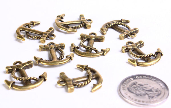 Antique brass anchor charm - Antique brass nautical pendant - antique brass naval beads - 23mm x 21mm - 8 pieces (722)