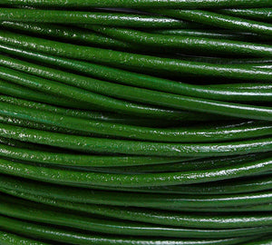 2mm Green genuine leather cord - 10 feet (717)