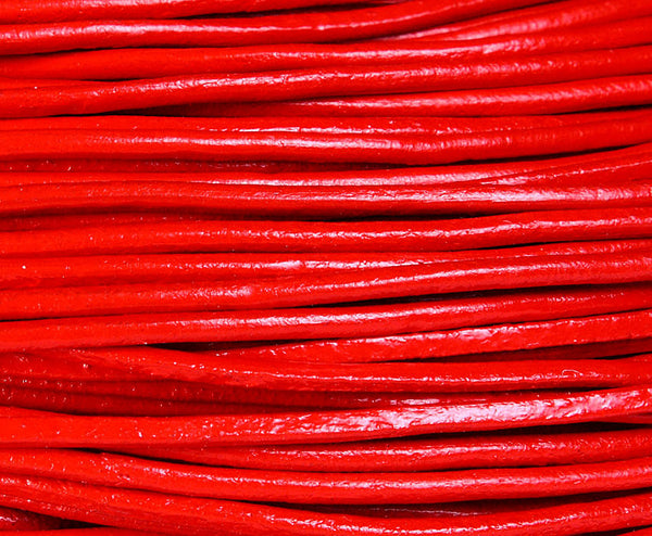 2mm Red genuine leather cord - 10 feet (725)