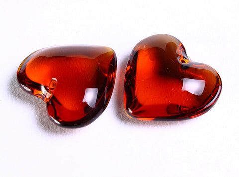 Brown topaz heart glass bead - 25mm x 24mm - 2 pieces (733)