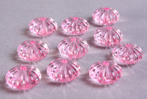 Pastel pink melon beads - Pink oval beads - 14mm x 9mm - 10 pieces (736)