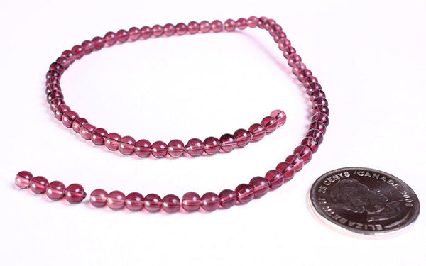 4mm purple beads - 4mm glass beads - 4mm round beads - round glass beads - 1 strand (747)