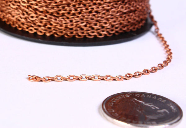3mm x 2mm antique copper cable chain - antique copper cross chain - unsoldered - 10 feet - Nickel free lead free (760)