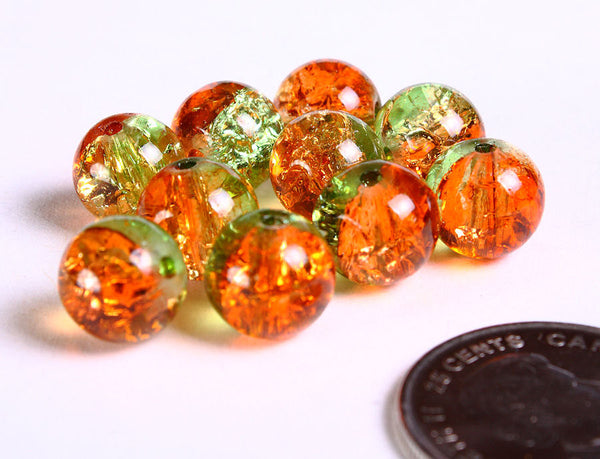 10mm Orange and green crackled beads - 10mm mix color round beads - 10mm Orange and green crackle glass bead - 10 pieces (225)