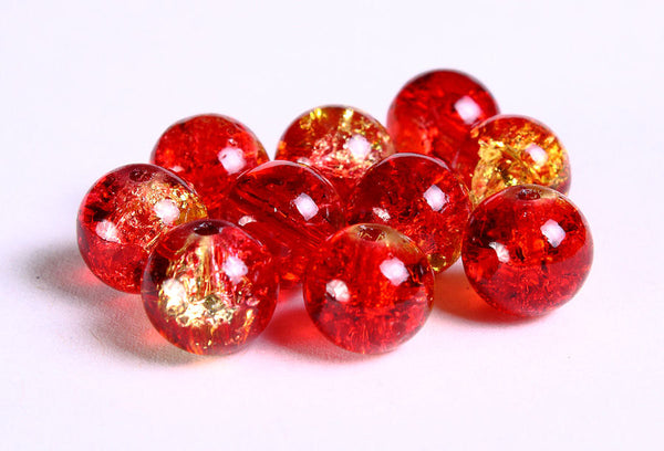 10mm yellow red crackle beads - mix color round crackle glass bead - Cracked Glass Beads for Jewelry Making - 10 pieces (763)