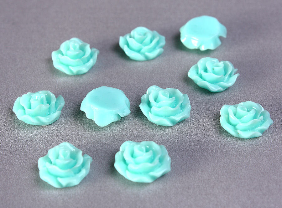 11mm Pastel turquoise rosebud cabochons - Lucite rose cabochon - 11mm resin flower cabochon - 10 pieces (773)