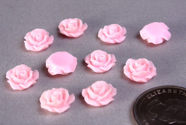 11mm Pink Rosebud cabochon - Lucite rose cabochon - Pink resin flower cabochon - Flower cabochons - 10 pieces (776)