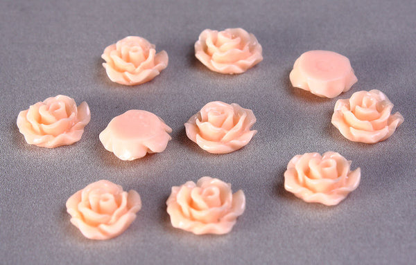 11mm Peach rosebud cabochons- Orange Lucite rose cabochon - resin flower cabochon - 10 pieces (777)