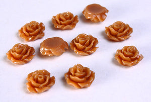 11mm Brown rosebud cabochon - Brown Lucite rose cabochon - Brown resin flower cabochon - 3D flower cabochon - 10 pieces (779)