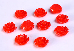 11mm Red fower cabochons - Red lucite rose cabochon - Red resin flower cabochon - 3d rosebud cabochon - 10 pieces (781)