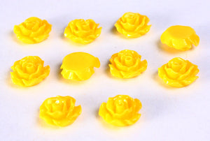 11mm Yellow flower cabochon - Yellow rosebud cabochons - Yellow rose cabochons - 3d cabochons - 10 pieces (785)