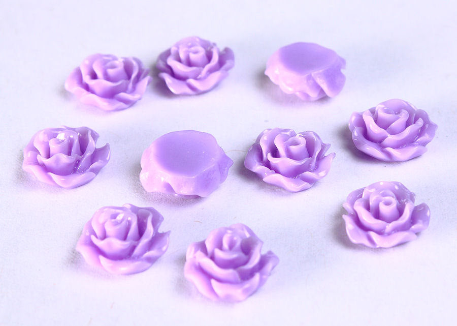 11mm Purple rosebud cabochons - Lucite rose cabochon - Resin flower cabochon - Small Rose Cabochon - 10 pieces (782)