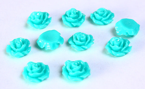 11mm Teal flower cabochon - Teal rosebud flower cabochons - Rose cabochon - Resin flower cabochon - 3D cabochons - 10 pieces (786)