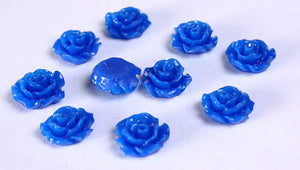 11mm Royal blue rose cabochons - 3D cabochon - Blue Lucite rose cabochon - resin flower cabochon - 10 pieces (790)