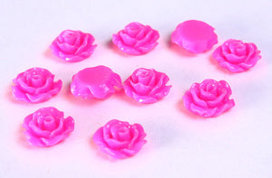 11mm Hot pink flower cabochons - Fuschia Lucite rose cabochon - Pink 3D cabochon - resin flower cabochon - 10 pieces (788)