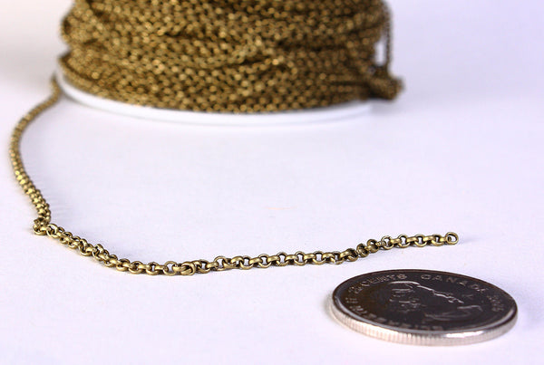 2mm antique brass cross chain unsoldered - lead free - nickel free - 10 feet (830)