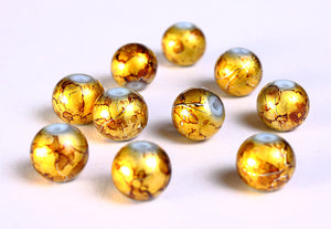 8mm Drawbench brown gold yellow beads - 8mm round glass bead - 8mm spray painted beads - 10 pieces (833)