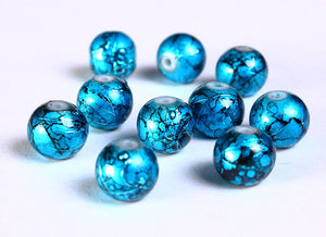 8mm Drawbench blue black beads - 8mm round glass bead - 8mm spray painted beads - 10 pieces (837)
