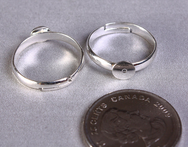 6mm silver color pad ring blank - adjustable ring - lead free - cadmium free - 5 pieces (844)