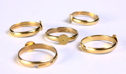 6mm gold color ring - 6mm pad ring base - blank ring - adjustable ring - lead free - cadmium free - 5 pieces (845)