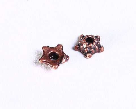 5mm Petite antique copper star beadcaps - Petite flower bead caps - Flower end caps - textured beadcaps - 20 pieces (854)