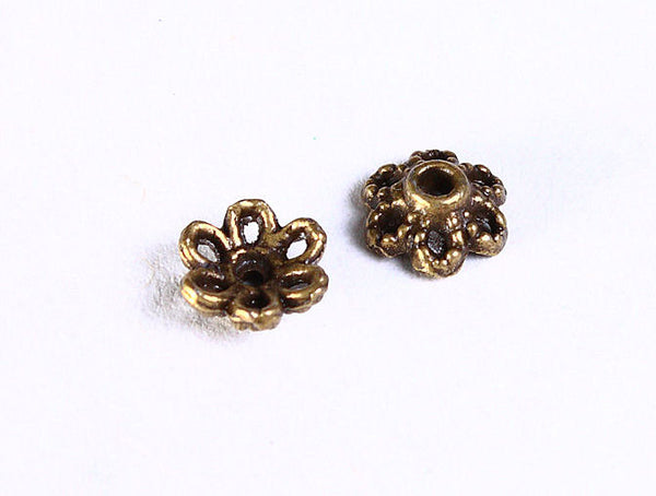 6mm antique brass flower bead caps - 6mm petite flower beadcaps - Petite textured beadcap - Nickel free Lead free - 20 pieces (856)