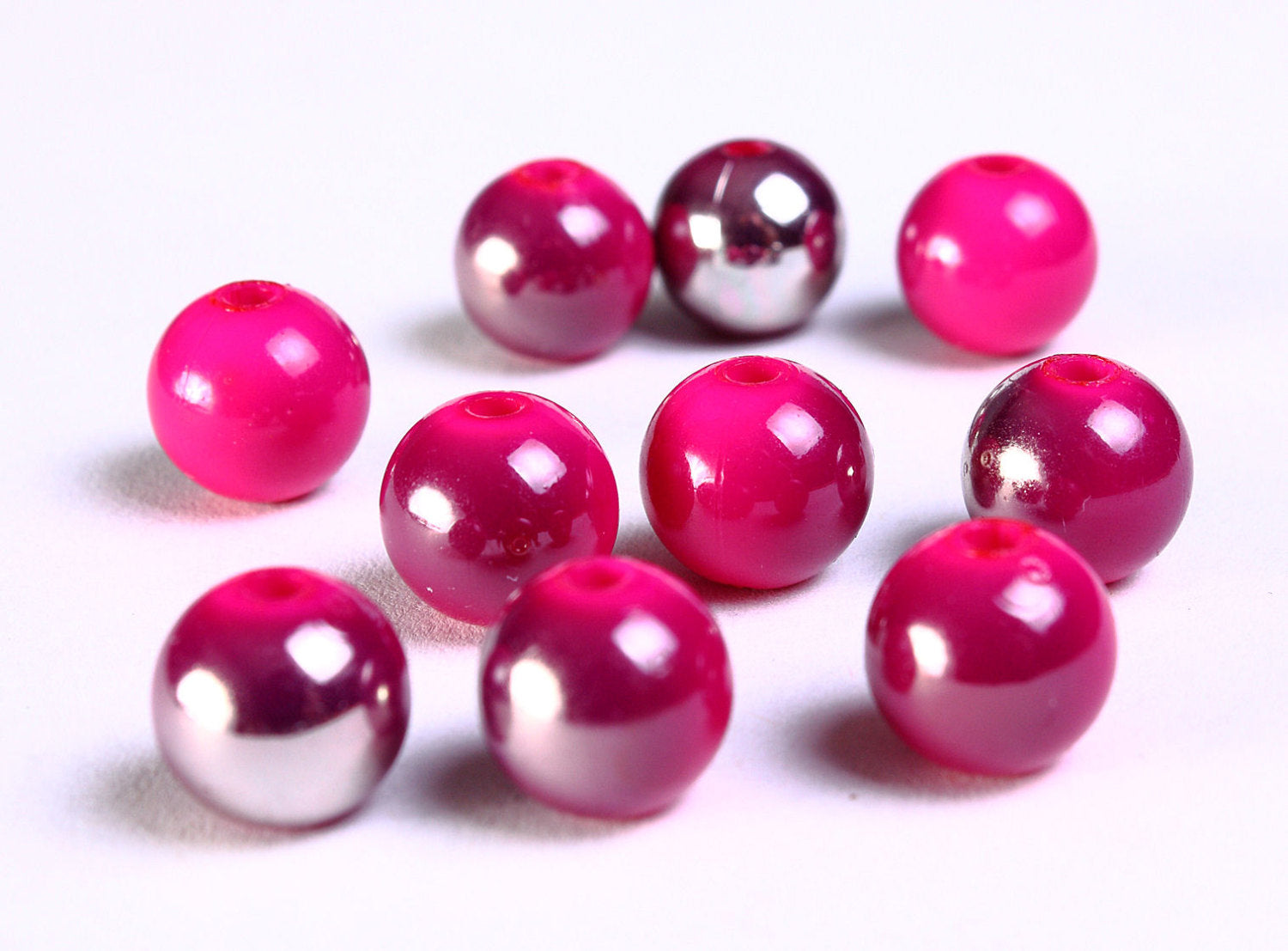 10mm Pink grey round beads - 10mm pink gray resin beads - 10 pieces (881)