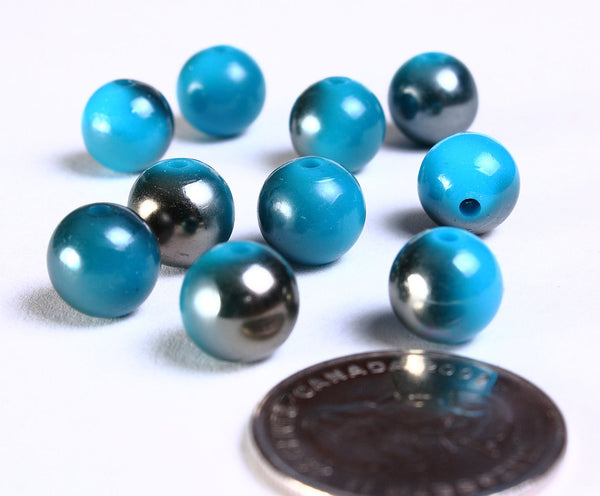 10mm Blue grey gray beads - 10mm opaque beads - 10mm acrylic beads - 10mm resin beads - 10 pieces (882)