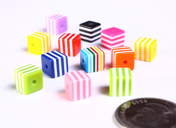 8mm mixed color striped square beads - 8mm cube beads - 12 pieces (887)