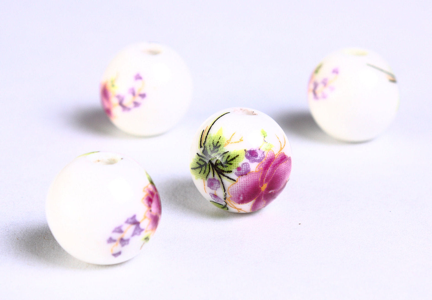 12mm Purple green flower porcelain round bead - 6 pieces (907)