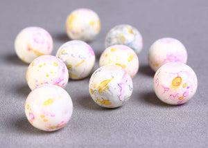 10mm mix color beads - 10mm round glass bead - cream yellow pink purple blue - 10 pieces (912)