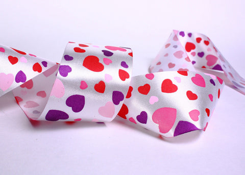 40mm Purple pink red white heart satin ribbon - 10 feet (R001)