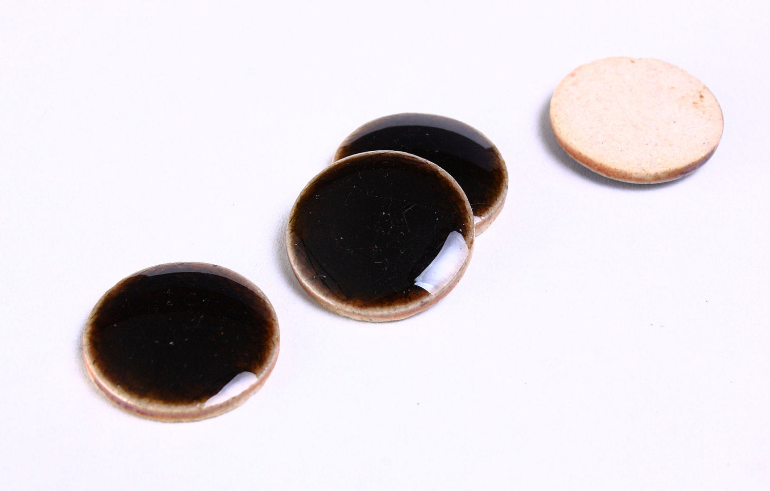 20mm Dark coffee black brown porcelain cabochons - 20mm handmade crackle porcelain - 20mm round cabochon - 4 pieces (927)