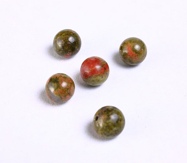 8mm Unakite beads round beads - 8mm gemstone beads - 6 pieces (936)