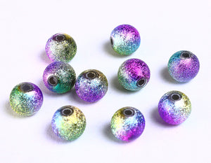 8mm purple pink green yellow stardust beads - 8mm multicolor stardust round beads - 10 pieces (939)